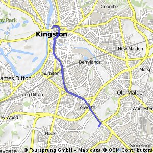 bike tour through Kingston upon Thames and back.