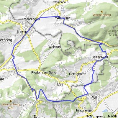 Bikeroute: Neunkirch-Griessen-Baltersweil- Wangental