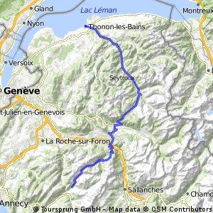 Thonon-les-Bains naar Grand Bornand (93 km)