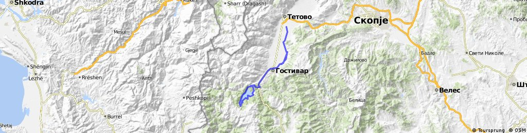 (road) Tetovo-Mavrovo-Gostivar-Tetovo