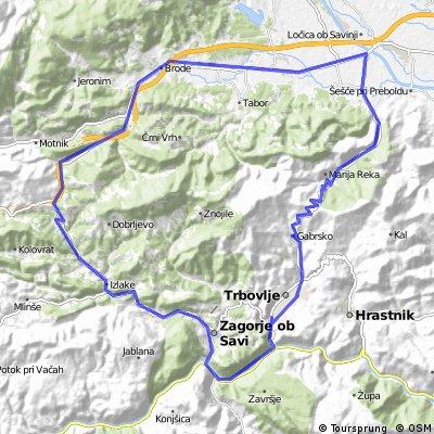 Trbovlje - Podmeja - Prebold - Trojane - Zagorje ob Savi - Trbovlje