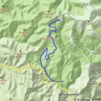 Velká Fatra: Kráľova studňa - Košiarisko - Krásný kopec - Nad Túnou - Veľký tunel - Horný Harmanec (běh)