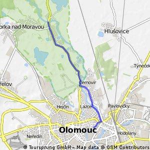 Olomouc to brewpub in Chomout