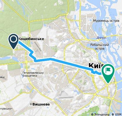 bike tour from Коцюбинське to Київ
