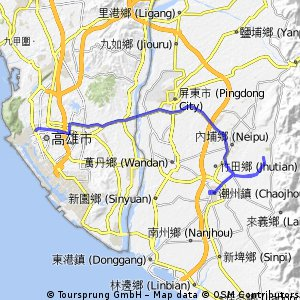 Long bike tour from 前金區 to 潮州鎮