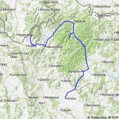 11. Dolní Morava - Červenohorské sedlo (vrchařská prémie) - Uničov (prémie 700 km Karla IV.)