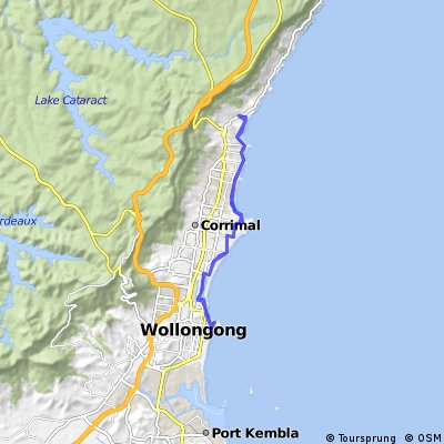 Cycling routes and bike maps in and around Wollongong Bikemap