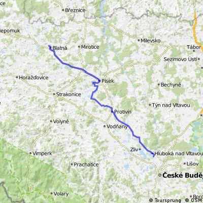 20. Hluboká nad Vltavou - Písek (Autodrom) - Blatná (centrum vzdělávání)