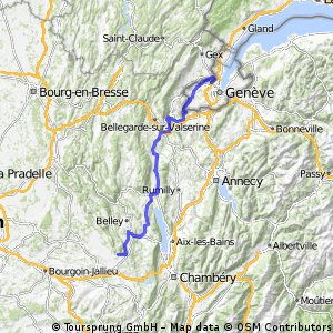 Route om Geneve naar Camping Ile de la Comtesse(Murs et Gelignieux)