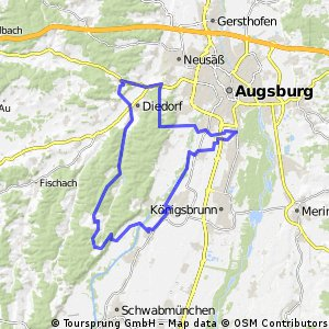 E-Bike Augsburg - Bobingen - Wehringen - Reinhartshofen - Diedorf - Wellenburg