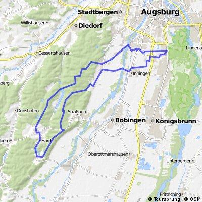 E-Bike Augsburg - Inningen - Bannacker - Reinhartshofen - Bergheim - Göggingen