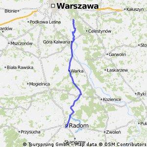 Józefów - Radom (Około 100 km) [Czersk, Warka, drogi, pola, lasy]