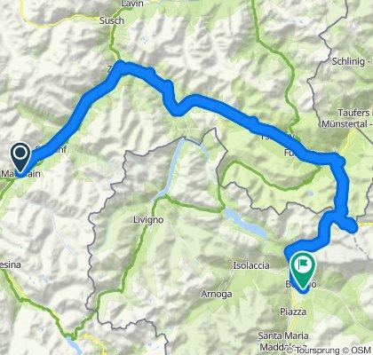 Alpentour'04/1.Etappe: Madulain - Bormio, mit Ofen-Pass, Umbrail, Stelvio