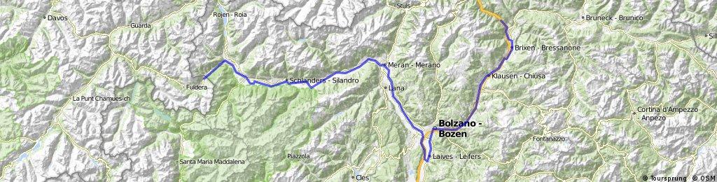 Brixen - Bozen - Leifers - Bozen - Meran - Tarsch - Schlanders - Müstair