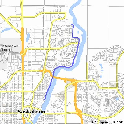 Cycling routes and bike maps in and around Saskatoon Bikemap