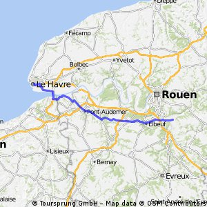 Cycling routes and bike maps in and around Le Havre Bikemap Your
