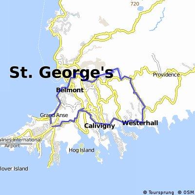 Sugar Mill to Mardi Gras via St George and return via Red Gate