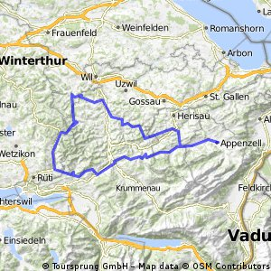 Cycling routes and bike maps in and around Appenzell Innerrhoden