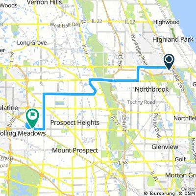 ride from Northbrook to Arlington Heights