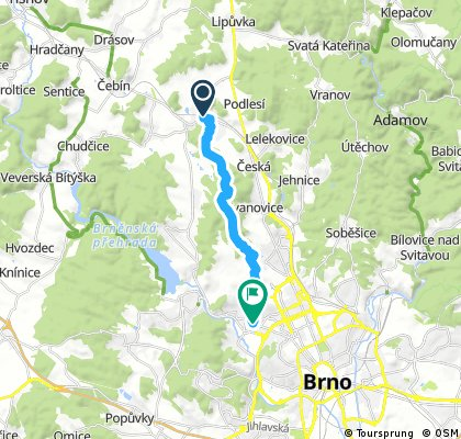 Kuřim - Přírodní park Baba - Medlánecké kopce - Palackého vrch - Brno, Komín (pěšky)