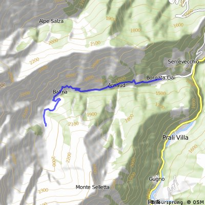 strada secondaria a semplice transito Rodoretto-Balme-Mulattiera Balma-Col di Rodoretto