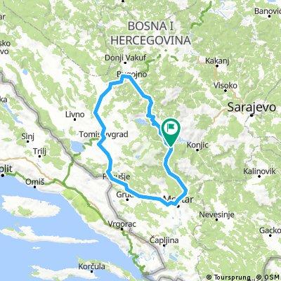 Jablanica-Bugojno-Kupres-Tomislavgrad-Posušje-Mostar-Jablanica