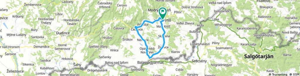 Veľký Krtíš - Čebovce - Slovenské Ďarmoty - Veľký Krtíš