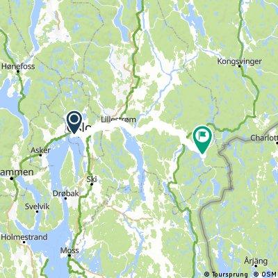 Dag 1 Oslo - Kirkevika Camping 77 km