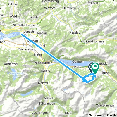 Lengthy ride from Flumserberg Tboden to Flumserberg Theim