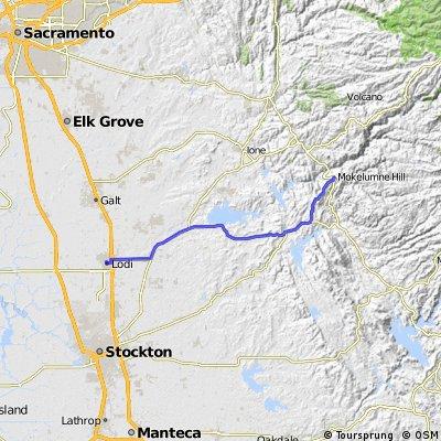 Mokelumne Hill to Amtrak at Lodi