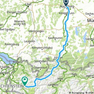 Augsburg-Lechtal-Flexenpass-Bludenz 232km