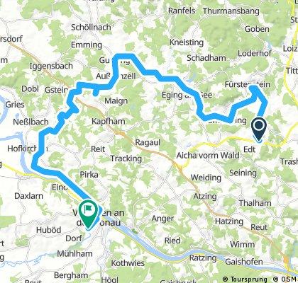 Lange Radrunde von Aicha vorm Wald nach Vilshofen an der Donau