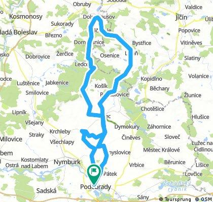 Poděbrady - Dolní Bousov -  Rožďalovice - Křinec - Poděbrady
