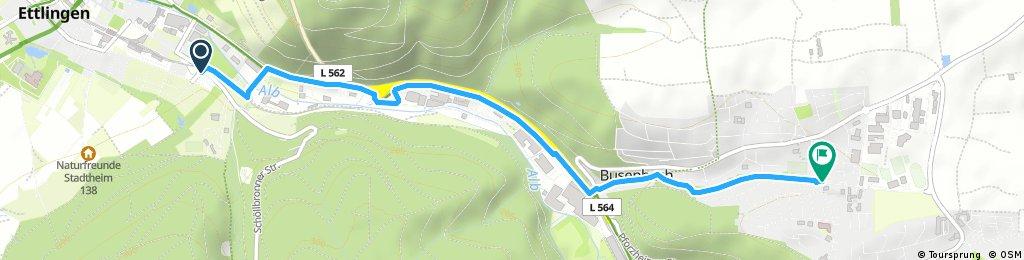 Route von Wattkopfweg 2, 76275 Ettlingen, Deutschland nach Marktplatz 1, Waldbronn