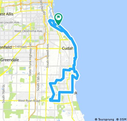 South Shore, Milwaukee, Bay View, St. Francis, Cudahy, South Milwaukee, Oak Creek Recumbent Route