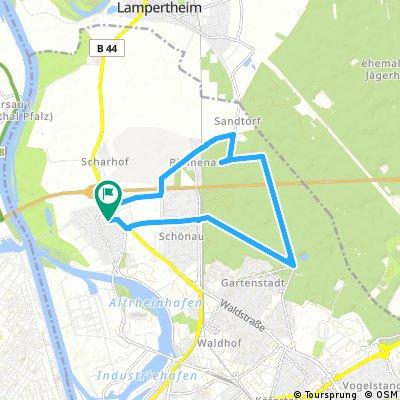 Sandhofen, Karlstern, Vogelpark,Schützenhaus, Blumenau und zurück