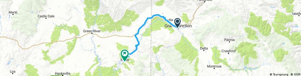 Grand Junction, CO - Moab, UT | Bikemap - Deine Radrouten