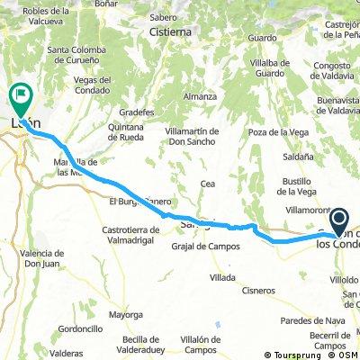 Long bike tour from Carrión de los Condes to León