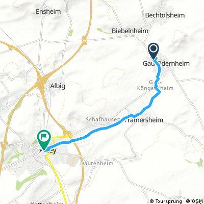Gau-Odernheim nach Alzey über Köngernheim