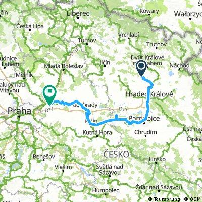 Velký Vřešťov - Hradec Králové - Pardubice - Kolín - Poděbrady - Čelákovice