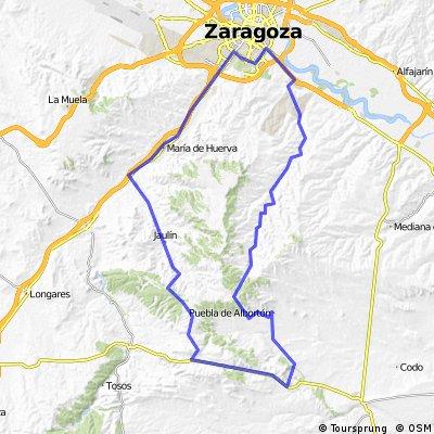 Zaragoza - Valmadrid - La puebla de Albortón - Jaulín - Botorrita - Zaragoza.