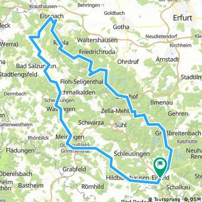 Rundtour Rennsteig- und Werratalradweg. Beginn/Ende in Eisfeld, 4 Übernachtungen