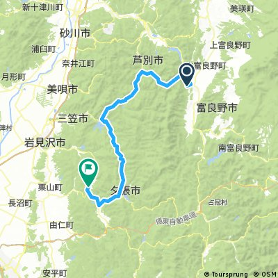 Long bike tour from 富良野市 to 夕張市