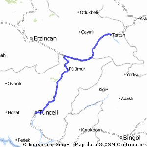 Cycling routes and bike maps in and around Tunceli Province