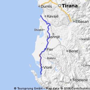 Route in Albanien von camping zu camping