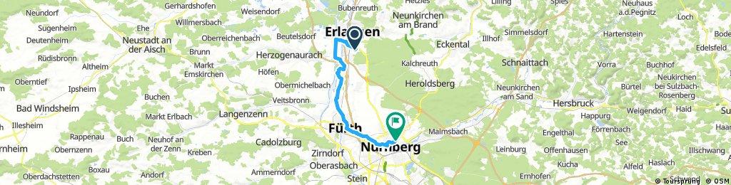 Ausfahrt von Erlangen nach Nürnberg