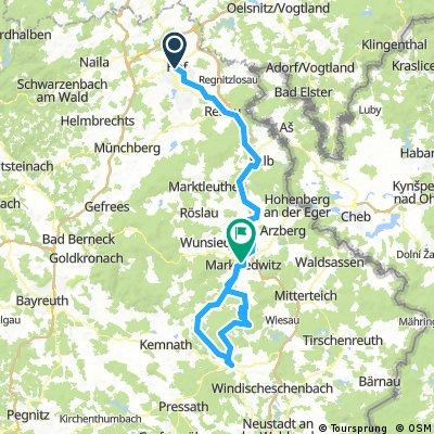 ADFC-Hof: 2-Tages-Steinwaldtour, Hof - Erbendorf - Marktredwitz