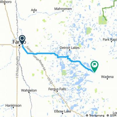 Long bike tour from Moorhead to New York Mills