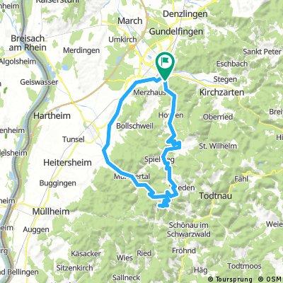 Freiburg - Gießhübel - Wieden - Belchen - Münstertal - Staufen -Freiburg