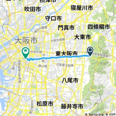 ride from Higashiosaka to Chuo-Ku, Osaka